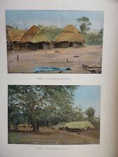 DAHOMEY:Gravure 19°in folio couleur/ CASE D'AHOMEENNE REGION SUD