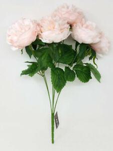 7 Head Blush Pink Artificial Peony Bunch 48cm - Wedding Home Flower Centerpiece