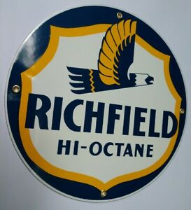Richfield Gas Oil Gasoline Porcelain Sign .. 8 or more ship for FREE