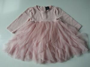 Baby Gap Size 3-6 Months Pink Net Bodice Sweater Layered Ruffled Swing...