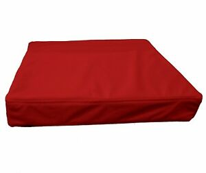 pb309t Bright Red Faux Leather Skin 3D Box Square Sofa Seat Cushion Cover*Custom