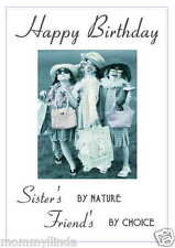 Sisters Personalised Hand Made Printed Birthday Card