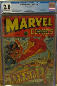 MARVEL MYSTERY COMICS #36 CGC 2.0 HUMAN TORCH 1942 CLASSIC STATUE LIBERTY COVER!