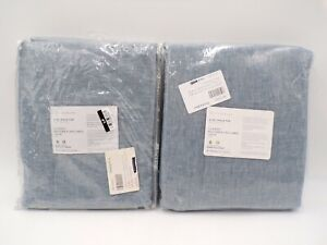 """Pottery Barn Belgian Flax Cotton Lined Drape Panel Blue Chambray 50x 84"""" S2 #H46"""