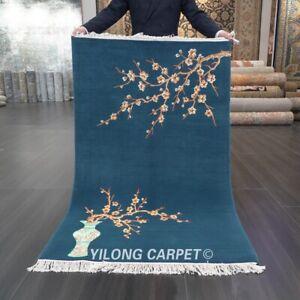 YILONG 3'x4.7' Handwoven Chinese Art Deco Wool Carpet Plum Blossom Area Rug