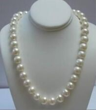 "Beautiful! 9-10MM White Akoya Pearl Necklace 18"" 14K Solid Gold Clasp AA"