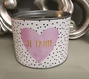"Je T'aime I Love You Pink White Black Dot Heart Valentine Tin 6"" 15cm Diameter"
