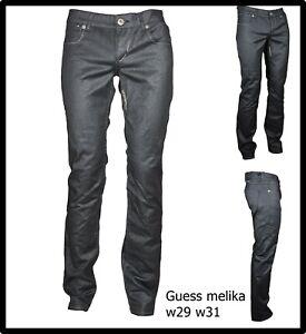 jeans guess da donna vita bassa elasticizzati pantaloni eleganti a gamba dritta