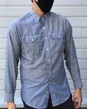 Vintage Sears Roebucks Denim Button Up Shirt Soft Vtg Distressed Long Sleeve