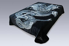 Queen Size Solaron Korean Super High Quality Thick Mink Blanket Dragon BLACK