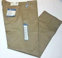 Men's Haggar Straight Fit Premium No Iron Khaki Flat Front Stretch Fabric Pants