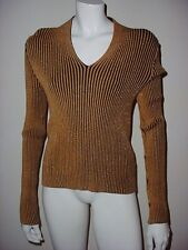 Fontana Gold And Black Ribbed Sweater Large
