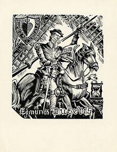 Peteris Upitis (1899-1989), Latvia, Ex libris Bookplate, Quixote, Cervantes