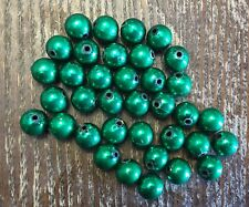 Vintage Green Metallic Coated Lucite Round Mardi Gras Bead Lot