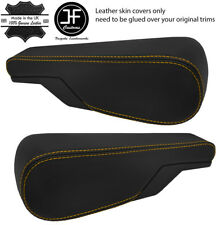 YELLOW STITCH 2X SEAT ARMREST REAL LEATHER COVERS FITS VW TYPE 3 T3 MULTIVAN