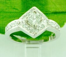 0.69 ct 14k Solid White Gold Ladies Natural Diamond Ring Princess Cut Pre owned