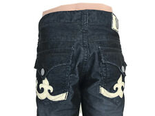 Laguna Beach Jean Co Men's Black Corduroy Pants Skulls Manhattan USA Size 36