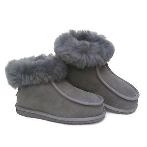 New Ladies Women's Premium Grey 100% Pure  Fur Wool Sheepskin SLIPPERS Boots L