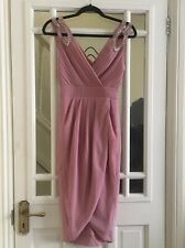 TFNC Bridesmaid Dress Petite 6 Party Wedding Pink Embellished Sequin Midi Wrap