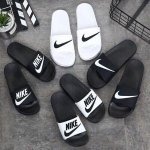 Mens Women Flat Sliders Shoes Slippers Beach Pool Sandals Flip Flops Black/White