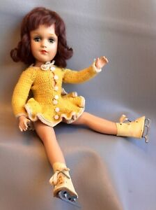 """Vintage 14"""" Composition Mary Hoyer Doll Yellow Knit Ice Skating Outfit & Skates"""