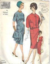 1960 Vintage Vogue Sewing Pattern B34 Dress & Jacket (1670) Fabiani of Italy