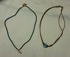 LOT 2 turquoise necklaces 16.5 inch 15 inch peace sign brown cord red bead