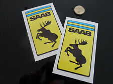 2 x SAAB Moose Car Stickers Crests Ferrari Style Shields Funny 900 Turbo Classic