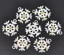 50 SP Rhinestone Christmas Snowflake Charm Pendants