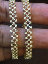 Stunning 5.75 Cts Round Brilliant Cut Natural Diamonds Bangles In Fine 14K Gold