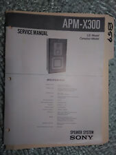 Sony apm-x300 service manual original repair book stereo speakers 2 pages