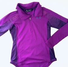 UNDER ARMOUR COLD GEAR 1/2 ZIP LONG SLEEVE PURPLE TOP GIRLS Size YXL EXCELLENT
