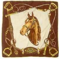 HORSE BRIDLE BROWN LARGE Silk Scarf 30 Inches