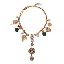 DOLCE & GABBANA RUNWAY Sicilia Sicily Blumen Perlen Kette Kollier Gold 05480