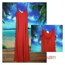 $150 WHITE HOUSE BLACK MARKET TIE-UP SLIP MAXI RED CORAL SUMMER DRESS SIZE 6