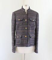 Ann Taylor Loft Brown Blue Metallic Tweed Mandarin Collar Blazer Jacket M Wool