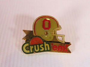Ohio State Crush 'Em Pin Pinback Pin back 1 inch OSU Buckeyes NCAA Football