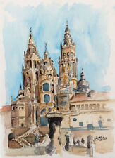 Set 1 Lithographs Cathedral Santiago Compostela Fonseca Palace Berengula' Tower