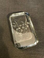 Clear Glass Flat Tablet Paperweight Ornament With Etched Flowers Design