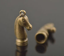 Wholesale 20ps Bronze Horse Head End Caps Kumihimo/Ratta?il/Cord 6mm Charms