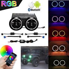 "2X 7"" 40W LED Headlight Multi color RGB Halo Ring Bluetooth Jeep Wrangler JK TJ"