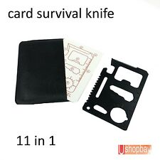 Multi Camping Tool Black Credit Card Survival Knife 11 in 1 Can Bottle Opener