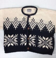 Bolivia Heavy Knit Cardigan Sweater Cropped SnowFlake Black White Large Rey Wear