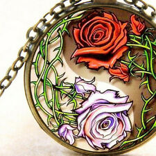 New Yin Yang Thorns and Roses, Glass Pendant Necklace, Red and Purple Flowers