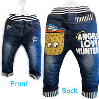 5Years Baby Toddler Kid ABC Vintage wash Denim Smart Jeans Elastic Waist 6M