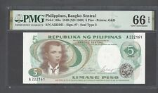 Philippines  5 Piso 1949(ND1969) P143a Uncirculated Grade 66