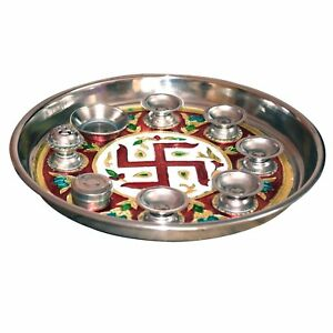 HiJet Stainless Steel Meenakari Puja Thali (Prayer plate) Set with Print of Swas