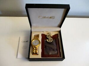 Vtg Men's COLIBRI Gold Tone Quartz Watch Money Clip & Leather Card Case NEW!