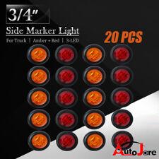 """20x LED Round Marker Light 3/4"""" Amber Red Clearance 3 LED Bullet Flush Mount 12V"""