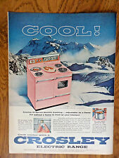 1956 Crosley Kitchen Electric Range Ad  In Cool Color-Glo PINK